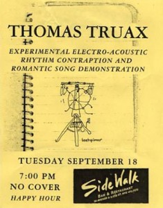 First-Ever Solo Gig Poster 9-18-01
